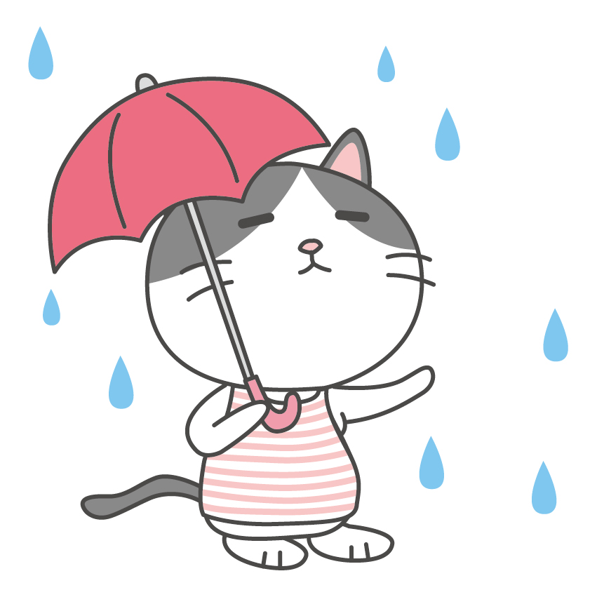 傘をさしたねこ