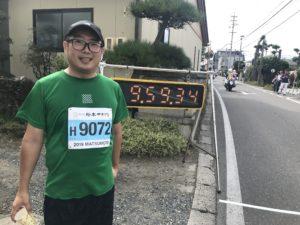 第3回松本マラソン松本市寿にてタイムアップ