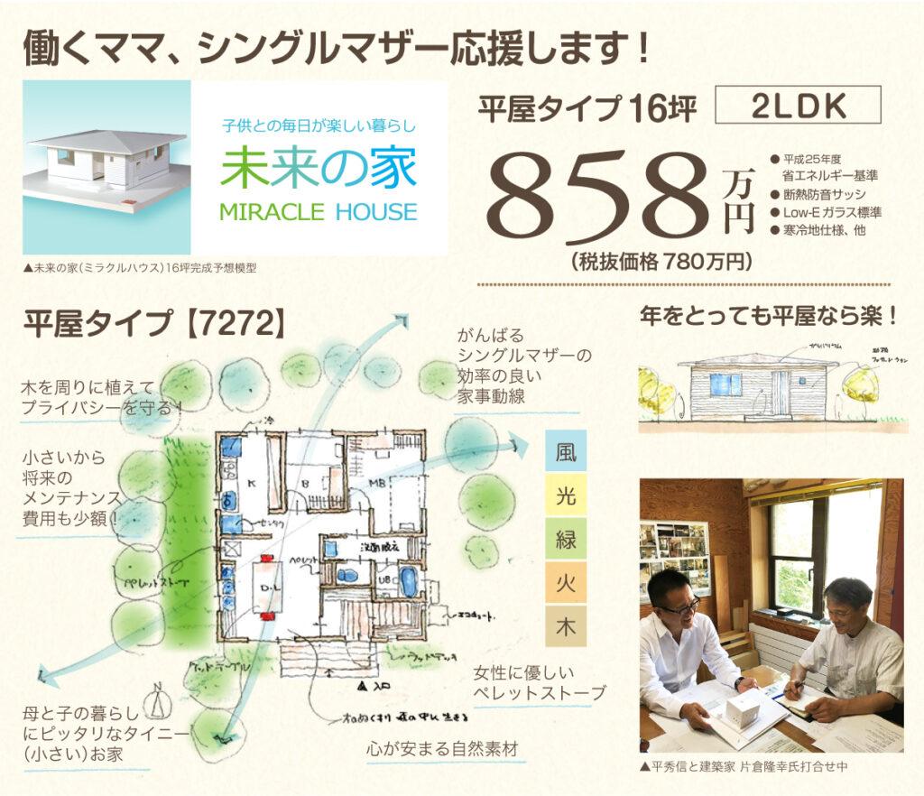 未来の家 平屋タイプ 16坪 858万円